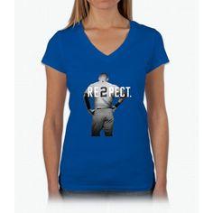 Respect Derek Jeter Re2pect 2 On Back new york uniform MJ baseball Womens V-Neck T-Shirt