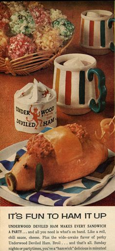 Deviled Pig Sandwich from Underwood Deviled Ham ad, 1968