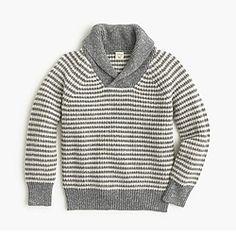 Marled striped shawl-neck sweater