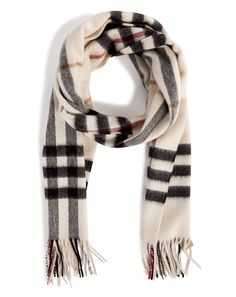 Ivory Check Giant Icon Cashmere Scarf by Burberry London