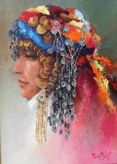 Turkish Agean Bride by Remzi İren (Turkish born Indian Art Paintings, Turkish Art, Traditional Dresses, Gouache, Mandala, Sketches, Watercolor, Bride, Drawings