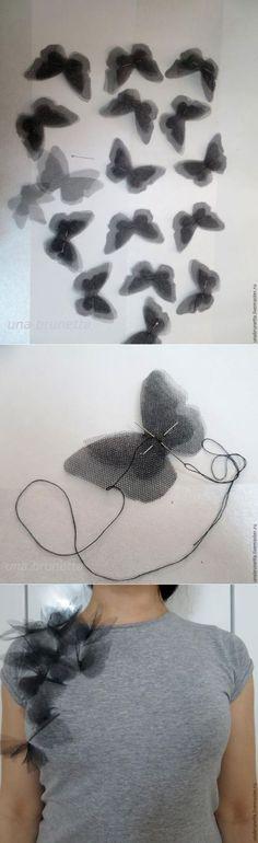 «Бабочки на твоем плече»: превращение обычной футболки в дизайнерскую вещь - Ярмарка Мастеров - ручная работа, handmade