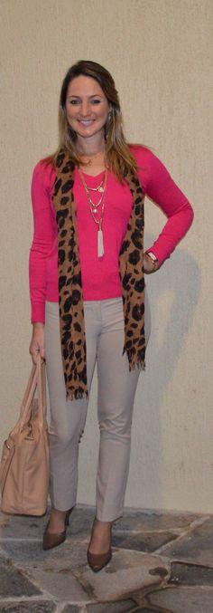 Look de trabalho - Look do dia - moda corporativa - look de inverno - work outfit - winter - fall -  pink - blusa rosa - animal print