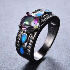 Mystic Rainbow Zircon Blue Fire Opal Ring
