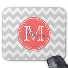 Monogram, Pattern, Chevrons, Gray, Coral Mouse Pad