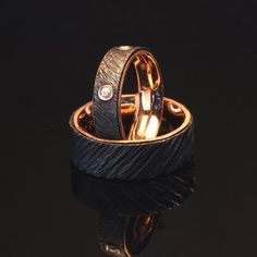 Custom Made 22kt Red Gold And Iron Wedding Ring