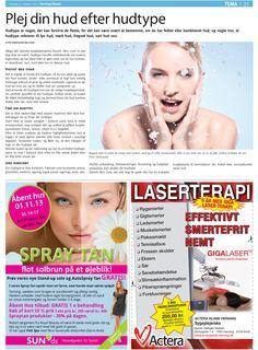 Oktober 2013 - Herning Bladet bringer Danish Skin Cares guide til pleje af huden, efter hudtype