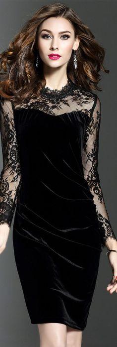 Black Lace Gauze Sheath Dress