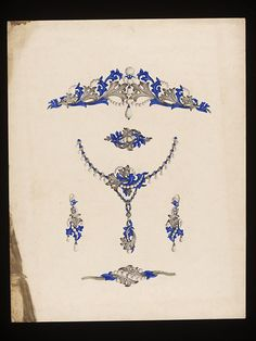 This design for a jewellery set is from an album of designs produced for the firm of John Brogden (1864-1884).    This album contains 1,593 designs for jewellery and goldsmith's work, mainly in colour and dating between 1848 and 1884. Designs such as these demonstrate the diversity of the jewellery produced by the Brogden firm.