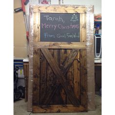 love the chalk board on a barn door. Vintage sliding Barn Door Custom made to fit your by GoodfromWood