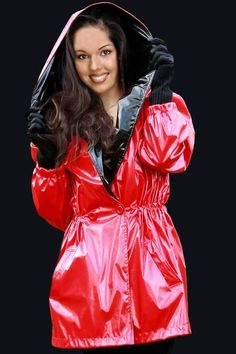 Red Raincoat, Vinyl Raincoat, Raincoat Jacket, Plastic Raincoat, Hooded Cloak, Latex Dress, Unisex, Rain Wear, Girls Wear