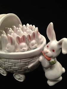 Vintage Fitz & Floyd Ceramic Candy Dish-Easter Rabbit-Bunny Buggy W Babies-1979