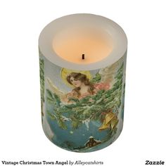Vintage Christmas Town Angel Flameless Candle