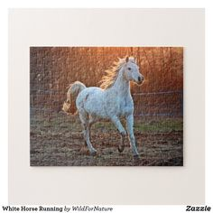 White Horse Running Jigsaw Puzzle Kids Jigsaw, Jigsaw Puzzles, Horse Galloping, Running Horses, Make Your Own Puzzle, White Horses, Custom Gift Boxes, Puzzles For Kids, Sticker Shop
