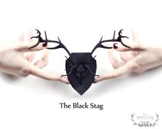 The Stag Mini Faux Taxidermy in black - A Stag Skull with full proud Antlers, mounted and ready to adorn your wall or office space.