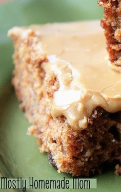 Raisin Applesauce Bars & Caramel Frosting - without the frosting, this makes a great breakfast cake, too!