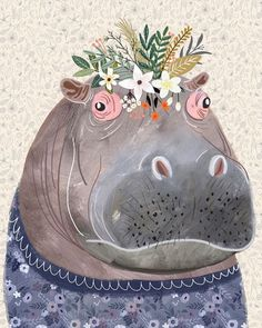 Hippo with Floral Crown Art Print – Funny Decoration Gift – Cute Room Decor – Poster by Mia Charro Framed Art Prints, Framed Artwork, Flower On Head, Flower Crowns, Hippo Drawing, Drawing Animals, Crown Art, Crown Drawing, Corona Floral