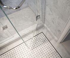 NYC Pre-War Paradise Designed By Joan Chan AIA, Master bathroom custom tight joint basketweave mosaic floor