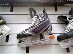 Ice Skates on Flatback Slatwall Single-Prong Display Hooks Air Max Sneakers, High Top Sneakers, Sneakers Nike, Ice Rink, Slat Wall, Save The Planet, Skates, Ice Skating, Hooks