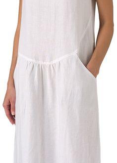 Vivid Linen Short Sleeve Dress-L-Soft White at Amazon Women's Clothing store: