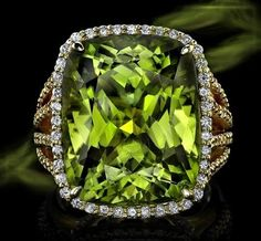 Burmese Peridot Statement Ring In yellow gold, this ring makes a statement with a ct. Burmese peridot center, framed in cts. diamonds, with a four-row shank. Peridot Jewelry, Diamond Jewelry, Peridot Rings, My Birthstone, Birthstone Jewelry, Diamond Are A Girls Best Friend, Statement Rings, Cocktail Rings, Colored Diamonds