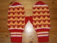 """Mittens with a pattern stolen from Pihlajanmarja candy wrapper (in Finnish """"sour grapes"""" translates into """"sour rowans"""", hence the fox. Knit Mittens, Knitting Socks, Mitten Gloves, Knit Socks, Wrist Warmers, Hand Warmers, Candy Wrappers, Yarn Ball, Handicraft"""