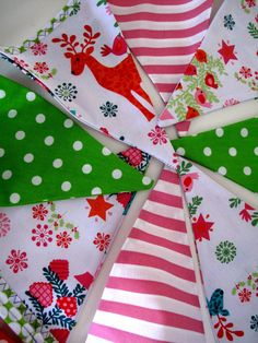 Christmas Bunting x Gorgeous hanging decoration in pink n lime. via Etsy.