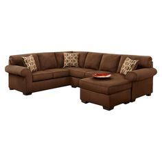 Chelsea Home Adams Sleeper Sectional Sofa, Basement Home Theater Area, Chocolate Brown.