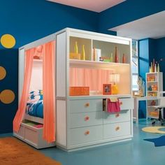 Teen bedroom. Cool! Would change the wall color though