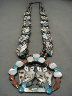 One Of The Finest Vintage Zuni Owl Turquoise Silver Squash Blossom Necklace