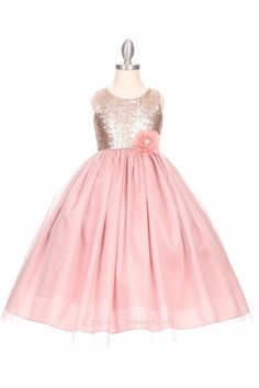 Flower Girl Sequins Tulle Long Dusty Rose Dress Christmas Wedding Pageant 1204 #CinderellaCouture #ChristmasDressyHolidayPageantWedding