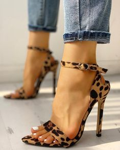 Shop Ethnic Print Peep Toe Ankle Strap Thin Heeled Sandals right now, get great deals at Chiquedoll Lace Up Heels, Ankle Strap Heels, Ankle Straps, Stilettos, Pumps Heels, Stiletto Heels, Heeled Sandals, Sandal Wedges, Trend Fashion