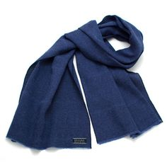 Sapphire Basket Weave Linen Scarf - vintage ties handmade in the United States