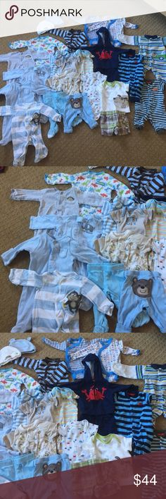 Newborn Boy 24 Piece Set EUC Why buy new? They outgrow SO fast! EUC 24 piece bundle for Newborn Baby Boy! 5 pajamas that are long sleeve/footed. 3 one piece day outfits. 2 pants. 2 long sleeve onesies. 2 piece crab track suit. 2 hats. 5 short sleeve onesies . 2 piece short and T-shirt set. 1 striped long sleeve shirt. Carter's One Pieces