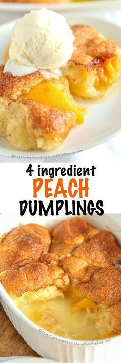 This is one of our favorite desserts! These 4 Ingredient Peach Dumplings are so easy to make with just 4 ingredients! Tender peaches in a soft warm crust with a peachy sauce. Perfect with ice cream! with delicious canned peaches and crescent rolls the Desert Recipes, Fruit Recipes, Sweet Recipes, Cooking Recipes, Cheap Recipes, Oven Recipes, Vegetarian Cooking, Shrimp Recipes, Recipes Dinner