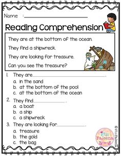 Free Reading Comprehension is suitable for Kindergarten students or beginning readers. There are 15 color and 15 black & white pages of reading comprehension worksheets. Each page contains 3 to 4 sentences passage, a related picture, and 3 multiple choice Reading Comprehension Worksheets, Reading Fluency, Reading Skills, Reading Strategies, Kindergarten Freebies, Kindergarten Reading, Preschool Kindergarten, Literacy Worksheets, Vocabulary Activities