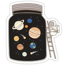 confined space Sticker by Milkyprint - Stickers :: Moon, Stars & The Cosmos Stickers Cool, Cute Laptop Stickers, Bubble Stickers, Phone Stickers, Kawaii Stickers, Journal Stickers, Printable Stickers, Planner Stickers, Funny Stickers