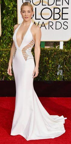 Actress #KateHudson is stunning in #Versace. #goldenglobes #2015goldenglobeawards #fashion #celebrities #redcarpetfashion