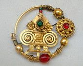 20k gold nose ring nosepin vintage antique jewelry tribal bellydance pendant