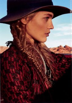 Vogue, February 2014 featuring Rag and Bone Floppy Brim Fedora Boho Gypsy, Bohemian Style, Boho Chic, Hippie Chic, Cow Girl, Magical Images, Into The West, Vogue Us, Le Far West