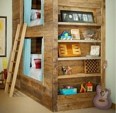 Create a micro space for your little ones giving them their own private bunk bed where they can be in their own world inside! The storage wall is a great plus too!