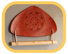 Paper Towel Holder – Kitchen Décor – Home Décor – Hand tooled Leather – Wood details – Handcrafted Paper Towel Holder Kitchen, Kitchen Fabric, Festival Accessories, Wood Detail, Leather Pieces, Mandala Pattern, To Color, Leather Tooling, Hand Tools