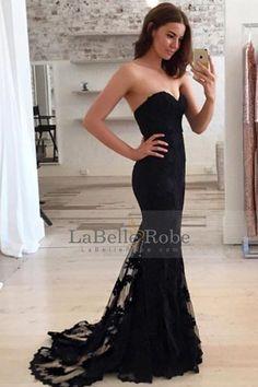 2017 New Arrival Sweetheart Black Prom Robes Mermoir en dentelle avec train de balayage € 138.09 LBRPLGD7QET - LaBelleRobe.com for mobile
