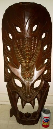 Huge Vintage Carved Wood Ifugao Dragon Tribal Mask Philippines Art | eBay