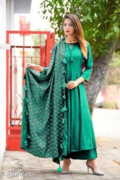 Dupatta Sets Women Rayon Flared Solid Long Kurti With Palazzos And Dupatta Fabric: Kurti: Rayon Palazzo: Rayon Dupatta - Rayon Sleeves: Sleeves Are Included Size: Kurti - M - 38 in L - 40 in XL - 42 in Palazzo - Up To 28 in To Up To 34 in Dupatta - 2 Mtr Length: Kurti - Up To 48 in Palazzo - Up To 40 in Description: It Has 1 Piece Of Women's Kurti & 1 Piece Of Palazzo & 1 Piece Of Dupatta Pattern / Work: Kurti - Solid Palazzo - Solid Dupatta - Tassel Work Country of Origin: India Sizes Available: M, L, XL   Catalog Rating: ★3.9 (450)  Catalog Name: Women Rayon Flared Solid Long Kurti With Palazzos And Dupatta CatalogID_457485 C74-SC1853 Code: 385-3307846-5151