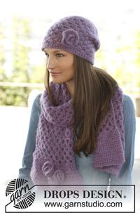 """Hazel - Set consists of: Crochet DROPS hat and scarf in 2 strands """"Vivaldi""""or """"Brushed Alpaca Silk"""". - Free pattern by DROPS Design"""
