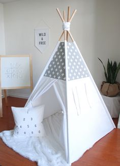 Grey and White Swiss Cross Canvas Teepee by ShopLittleWanderer