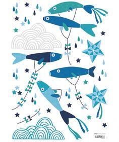 Sticker mural enfant poisson japonais bleus   Soizic Gilibert