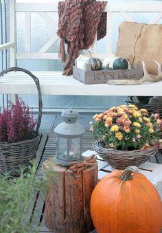 Natürliche Herbstdeko auf dem Balkon