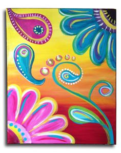 Paisley Flower Power  Original acrylic on by ArstyFartsyMommaBear. Customize youlr flower colors.